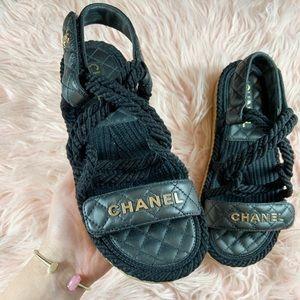 Chanel Black Braided Lambskin Sandals Size 38